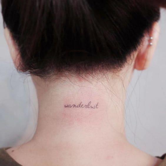Hình tattoo chữ đơn giản và cute ở cổ