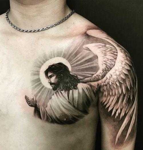 Hình tattoo chúa giêsu trước ngực đẹp ngất ngây