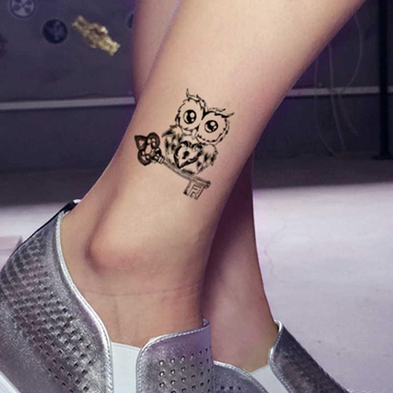 Hình tattoo cú mèo cute dễ thương ở chân