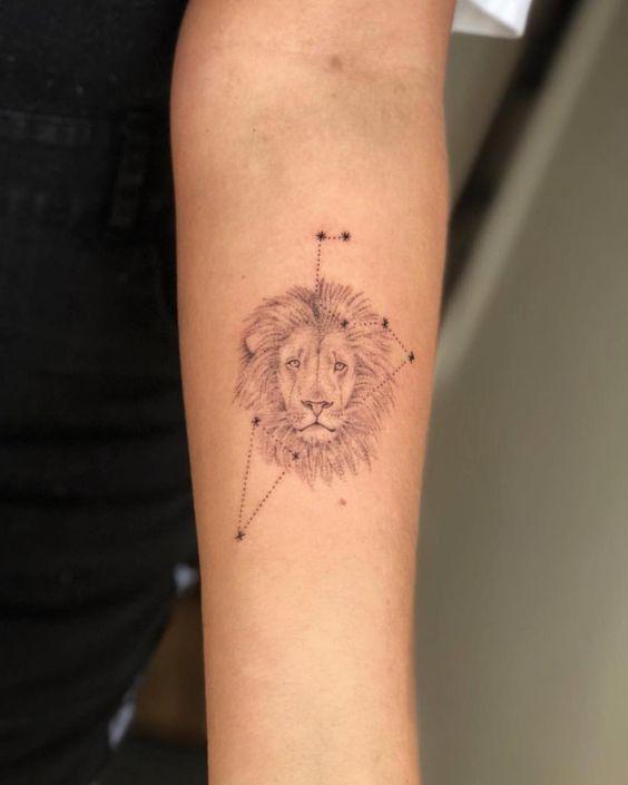 Hình tattoo cung Sư Tử trên tay nữ