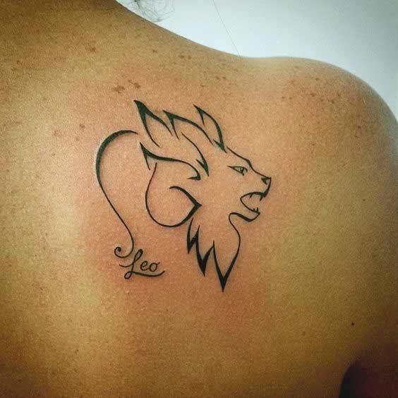 Hình tattoo cung Sư Tử xinh cho nữ
