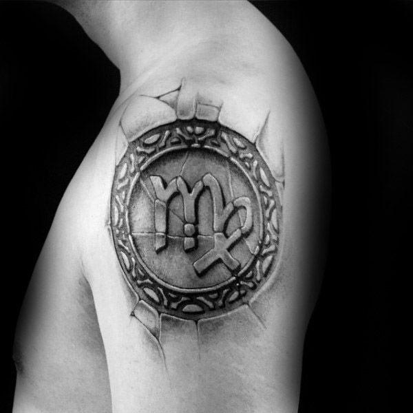 Hình tattoo cung Xử Nữ cho nữ ở bả vai
