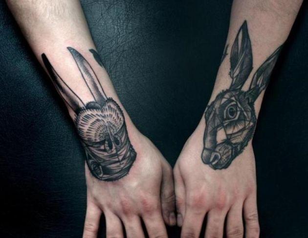 Hình tattoo đầu thỏ đen chất