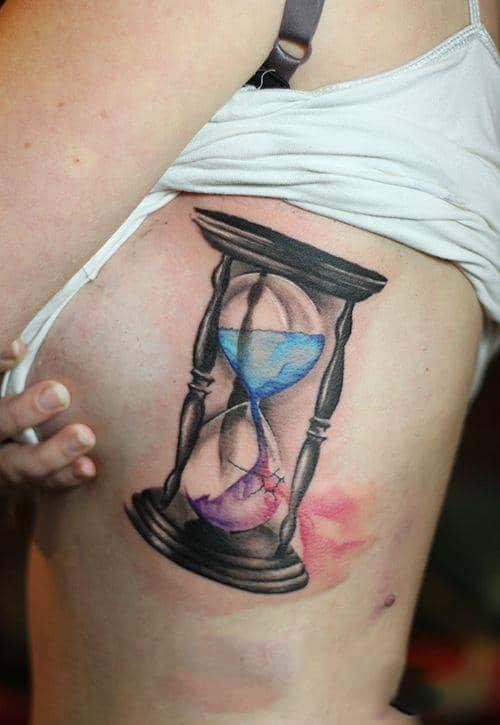 Hình tattoo đồng hồ cát đẹp cho con gái