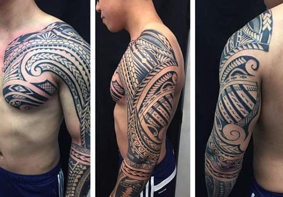 Hình tattoo hoa văn độc là kín tay nam