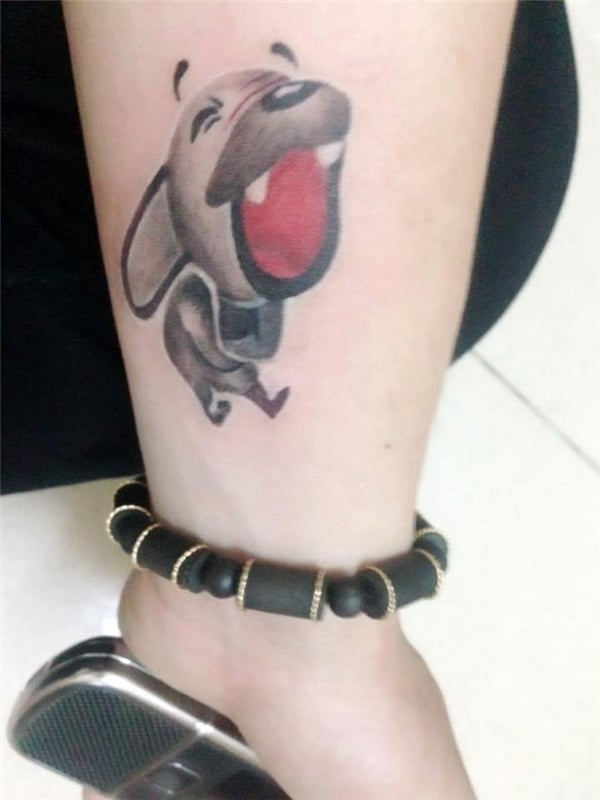 Hình tattoo icon chó nâu vui nhộn