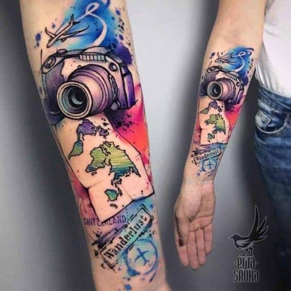 Hình tattoo màu nước đẹp trên cánh tay