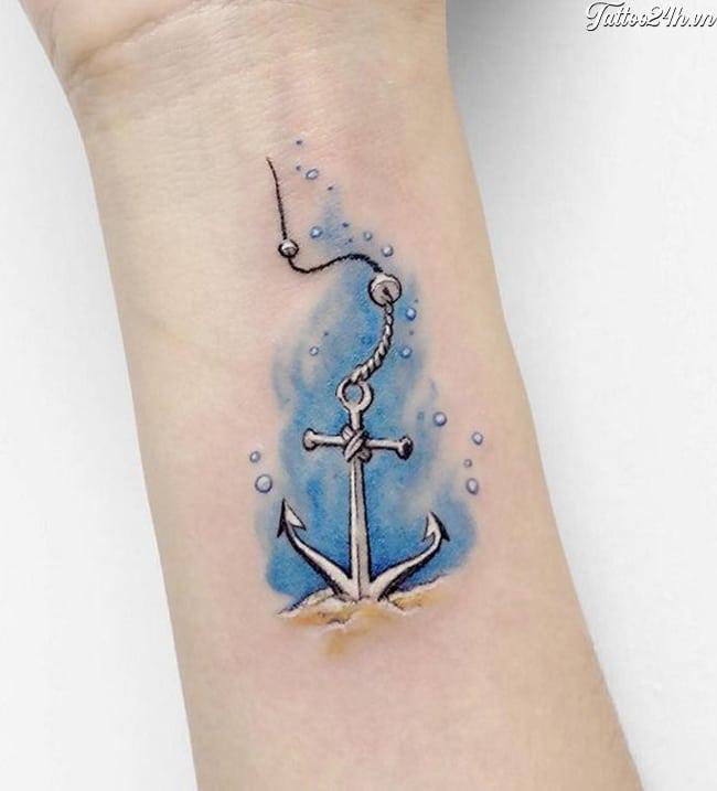 Hình tattoo mỏ neo màu xanh