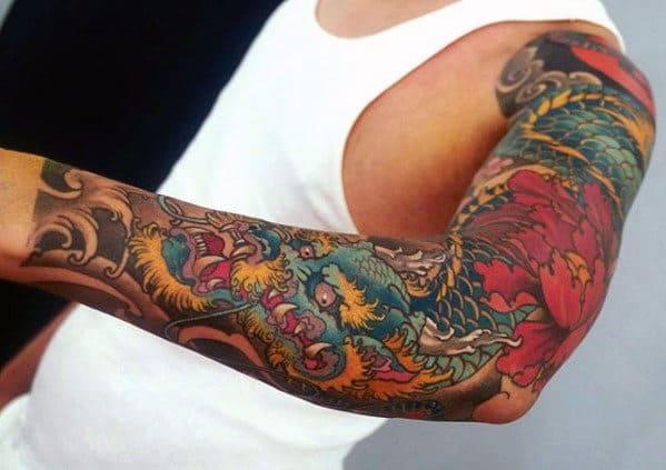 Hình tattoo rồng lửa kín tay ấn tượng