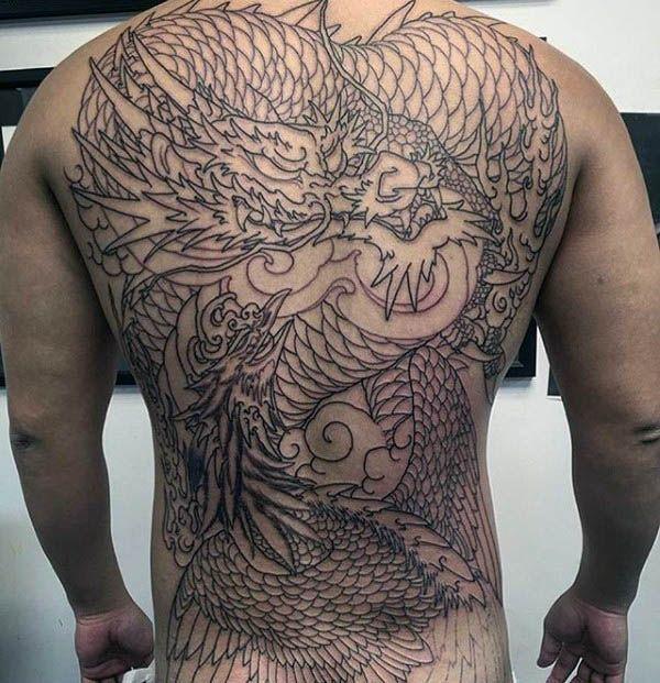 Hình tattoo rồng phượng kín lưng chất