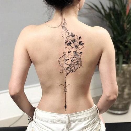 Hình tattoo sống lưng nữ quyến rũ