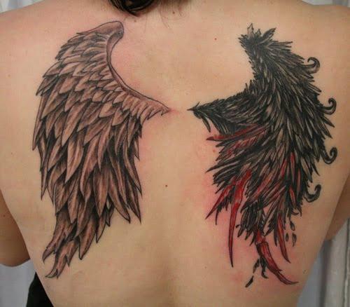 Không thể rời mắt trước hình tattoo cánh thiên thần và ác quỷ xuất sắc