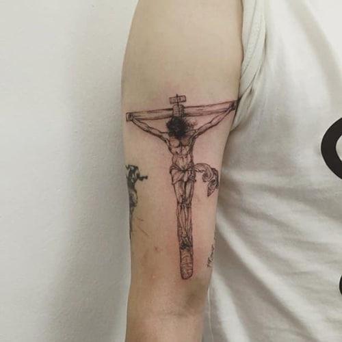 Kiểu tattoo chúa giêsu mini đơn giản mang ý nghĩa tôn giáo
