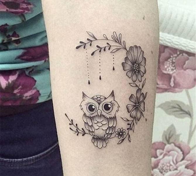 Kiểu tattoo cú mèo dễ thương và cute