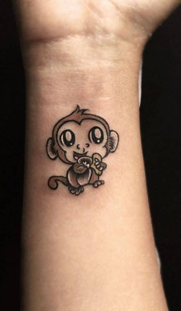Kiểu tattoo khỉ mini nhỏ nhắn và xinh hết nấc