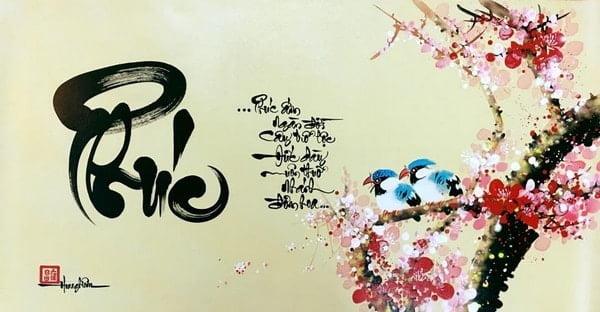 Kiểu thư pháp chữ phúc với đường nét điêu luyện, uyển chuyển và mềm mại