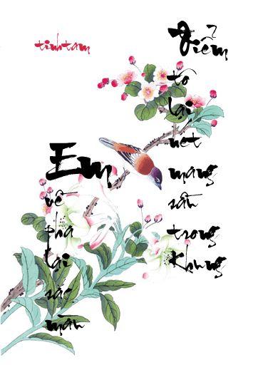 Kiểu tranh thư pháp đẹp về tình yêu