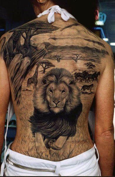 Kiểu xăm châu Âu con sư tử kín lưng cho nữ