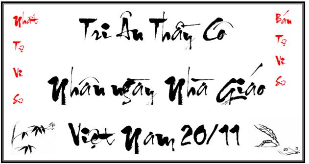 Mẫu chữ thư pháp tri ân người nhà giáo