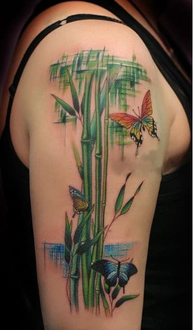 Mẫu tattoo cành trúc và bướm xinh xắn và độc lạ
