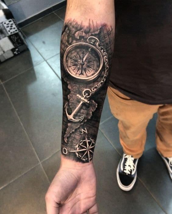 Mẫu tattoo đồng hồ la bàn 3d nghệ thuật