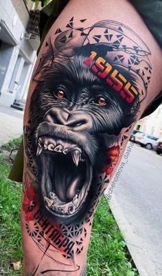 Mẫu xăm khỉ đột hung dữ sắc sảo và ấn tượng