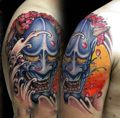 Tattoo mặt quỷ Oni với hình tượng hung dữ và ghê rợn