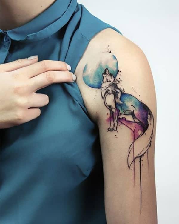 Tattoo màu nước chó sói nghệ thuật