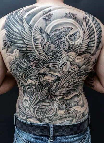 Tattoo phượng hoàng kín lưng độc đáo