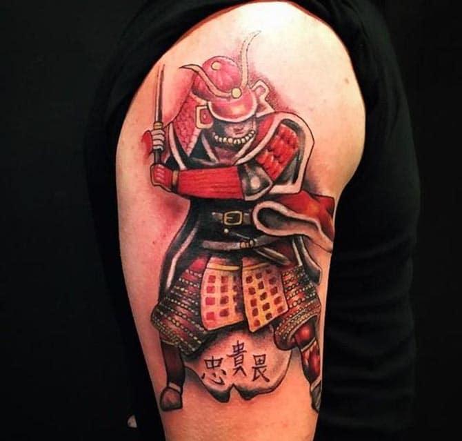 Tattoo samurai nhật cổ ở bắp tay đẹp cho nam