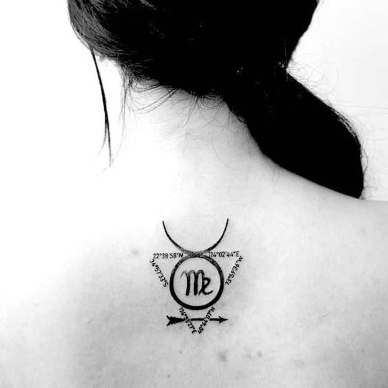Tattoo xăm cung Xử Nữ sau lưng nữ