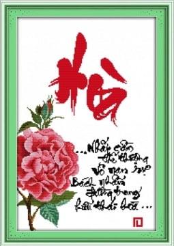 Tranh thêu chữ thập chữ Hòa đẹp