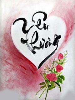 Tranh thư pháp về yêu thương