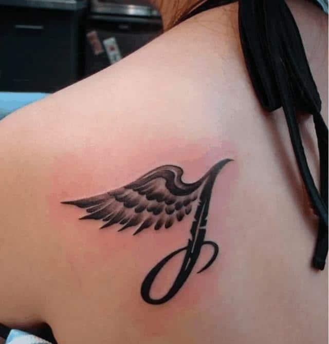 Xăm chữ T kiểu nghệ thuật cùng cánh thiên thần