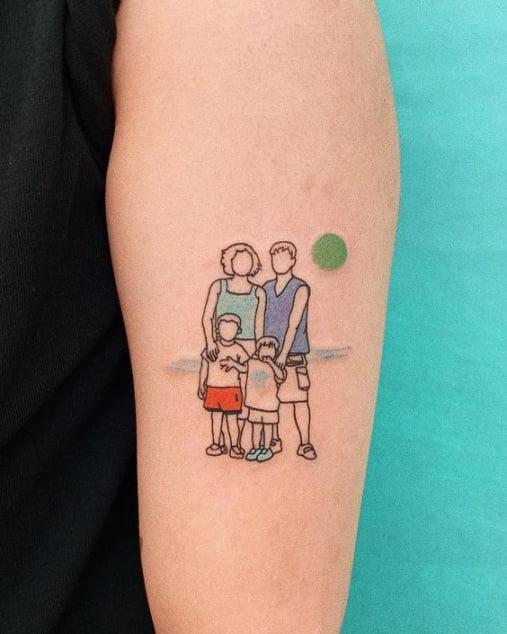 Xăm gia đình mini 4 người đẹp nhỏ
