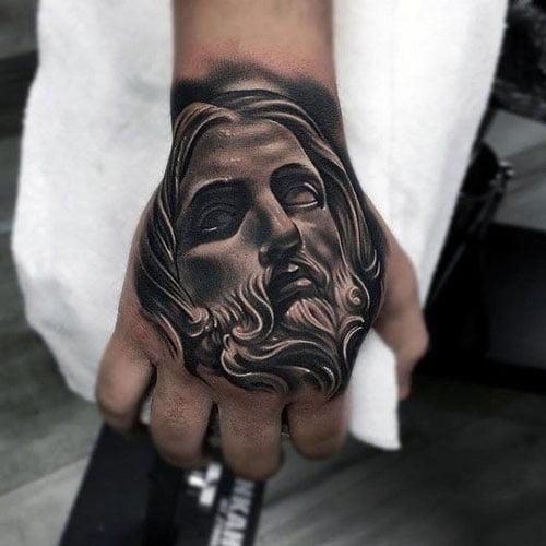 Xăm tattoo chúa giêsu ở bàn tay đẹp