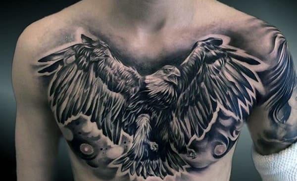 hình tattoo đại bàng tung cánh cực cá tính
