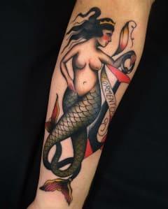 hình tattoo old school nàng tiên cá đẹp