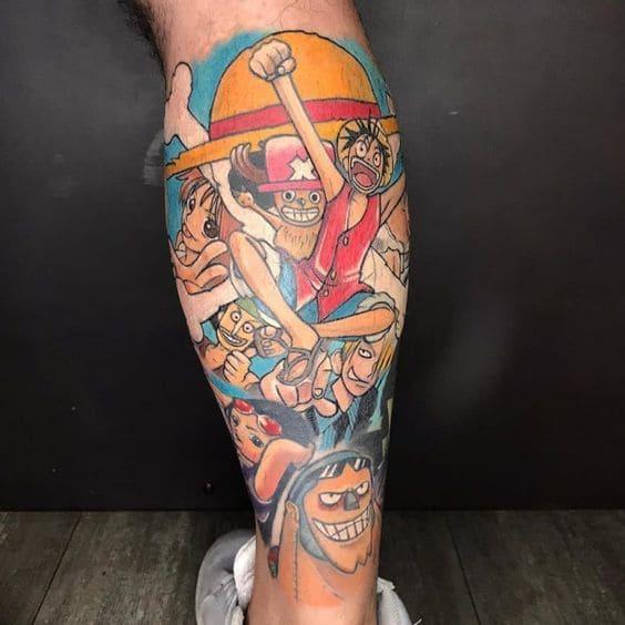 kiểu hình tattoo one piece ở bắp chân đẹp