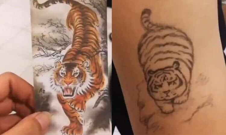 mẫu hình tattoo hồ mập hài hước