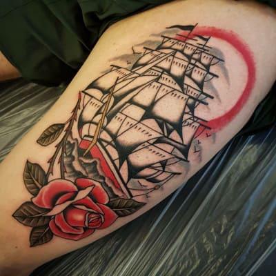 mẫu hình tattoo old school hình con tàu