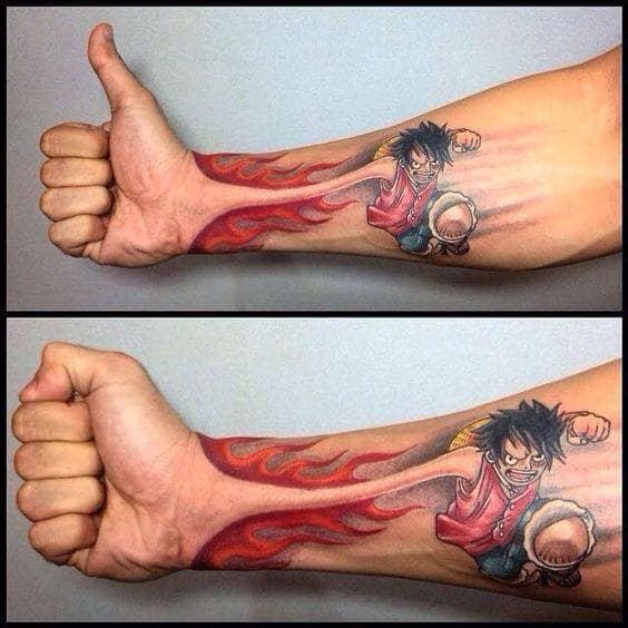 mẫu tattoo hình cậu bé luffy cực ngầu