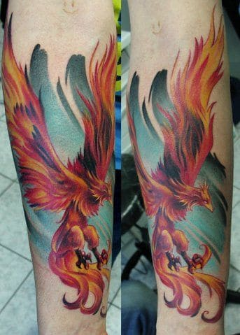 mẫu tattoo hình phượng hoàng tứ linh trên cánh tay