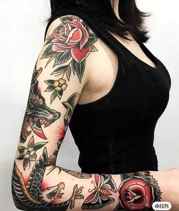 mẫu tattoo old school chất cho nữ