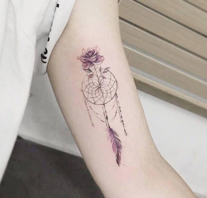 tattpp hình dream catcher đẹp trên bắp tay trong của nữ
