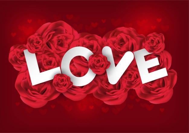 Chữ love nổi bật trên nền hoa hồng cực ấn tượng cho thiệp chúc mừng lễ tình nhân