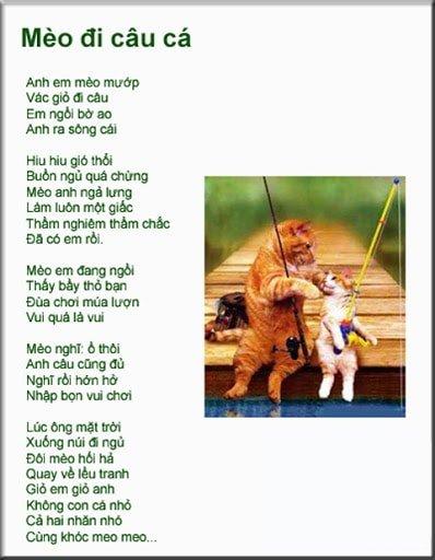 Hình ảnh bài thơ anh em mèo đi câu cá