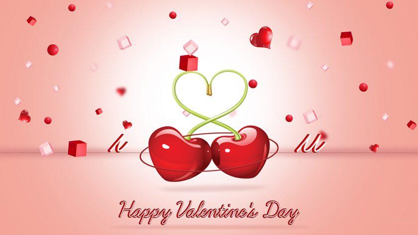 Hình chúc mừng trái tim ngọt ngào lấy ý tưởng từ trái chery đỏ mọng