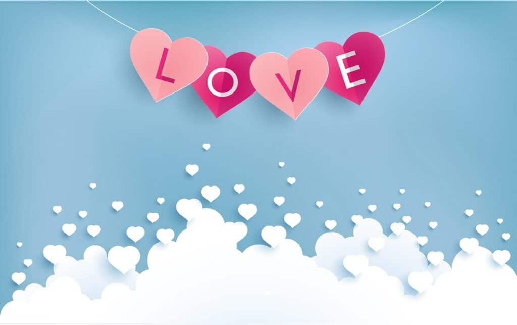 Hình nên chữ love cho ngày lễ tình nhân hạnh phúc