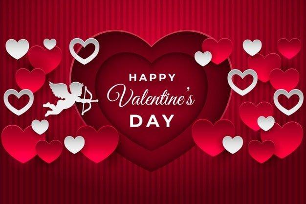 Hình nền trái tim và thần cubit bắn mũi tên tình yêu biểu tượng của hạnh phúc